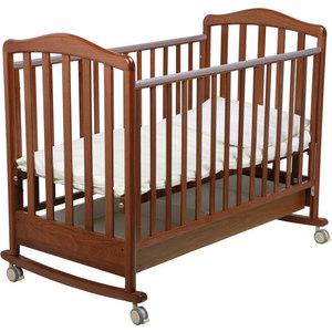 Кроватка Papaloni ``Винни`` 120х60см колеса/качалка (темный орех)