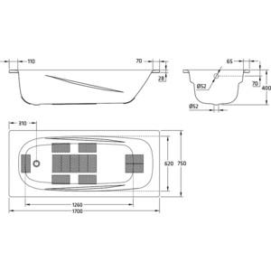 Ванна стальная BLB Anatomica hg 170x75 см 3.5 мм с отверстиями для ручек (B75L handles) от ТЕХПОРТ