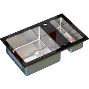 Мойка кухонная ZorG inox-glass 800x510 (gl-8051-2-black) кухонная мойка zorg szr 510 bronze