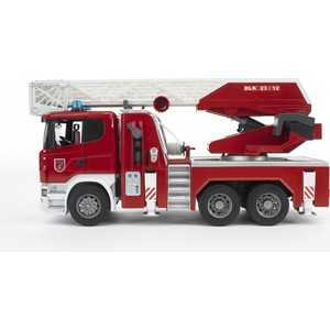 Bruder Пожарная машина Scania с выдвижной лестницей и помпой с модулем со световыми и звуковыми эффектами 03-590