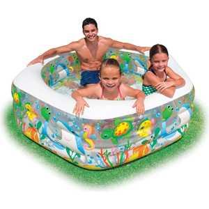 Бассейн Intex аквариум с надувным полом 191х178х61 см 38992/56493 бассейн звезда с надувным дном 185х180х53см intex 56495