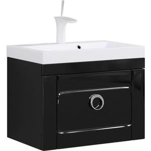 Тумба с раковиной Aqwella Инфинити подвесная с ящиком черная (Inf.01.06/001/blk)  цена и фото