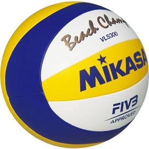 Мяч для пляжного волейбола Mikasa VLS300 Beach Champ, размер 5, цвет бел-син-жел чаша горошек 2 л бел син 1150426