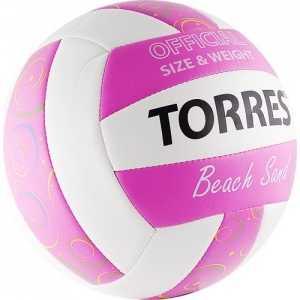 все цены на  Мяч волейбольный любительский для пляжа Torres Beach Sand Pink арт. V30085B, размер 5, бело-розово-мультиколор  онлайн