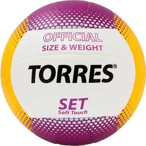 Мяч волейбольный любительский Torres Set арт. V30045, размер 5, бело-желто-фиолетовый мяч волейбольный torres set р 5
