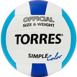 Мяч волейбольный любительский Torres Simple Color арт. V30115, размер 5, бело-голубо-синий мяч волейбольный любительский для пляжа torres beach sand pink арт v30085b размер 5 бело розово мультиколор
