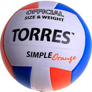 Мяч волейбольный любительский Torres Simple Orange арт. V30125, размер 5, белый-голубо-оранжевый мяч волейбольный любительский для пляжа torres beach sand pink арт v30085b размер 5 бело розово мультиколор