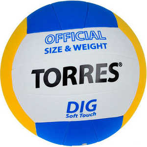 Мяч волейбольный любительский Torres Dig арт. V20145, размер 5,бел-жел-син мяч волейбольный atemi space бел желт син