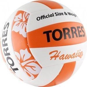 все цены на  Мяч волейбольный любительский для пляжа Torres Hawaii арт. V30075B, размер 5, бело-оранжево-черный  онлайн