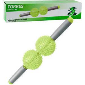 Массажер роликовый Torres (арт. BL1006), диаметр 8 см, цвет: зелено-серый