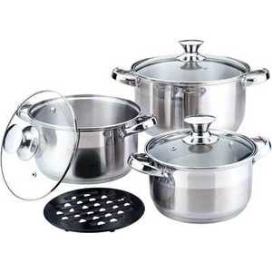 Набор посуды Bekker Jumbo ВК-1250 кастрюля 24 см 6 5 л н с 18 10 термоаккум дно ст кр мет руч