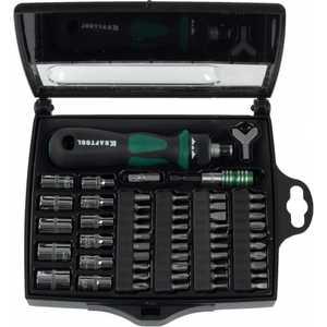 Отвертка реверсивная с битами Kraftool 55 предметов Expert (25554-H55) отвертка kraftool expert ph 1x80мм