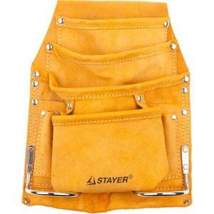 Сумка поясная для инструментов Stayer кожаная 8 карманов 2 скобы Master (38505) twin master yellow 8 chef butcher