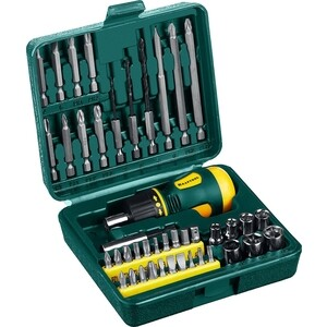 Набор Kraftool отвертка реверсивная 43 предмета (25556-H43) набор kraftool отвертка реверсивная с битами и торцевыми головками 29 предметов 25556 h29