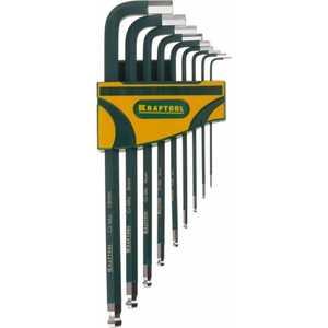 Набор ключей шестигранных Kraftool 1.5-10мм 9шт Industrie (27445-H9) набор ключей имбусовых длинных kraftool industrie 27444 h13