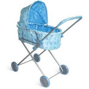 Коляска для кукол 1Toy с люлькой голубая Т52262