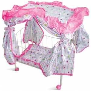 1Toy Кроватка для кукол с навесесом на колесах Т52273