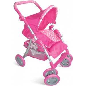 1Toy Коляска для кукол, премиум розовая с кружочками Т55641