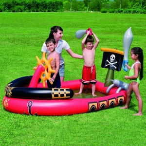Bestway Надувной бассейн пиратский корабль с водной пушкой 191х140х97см от 3 лет надувной меч-2шт 53041