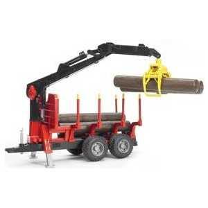 Bruder Прицеп для перевозки леса с манипулятором и брёвнами 02-252 машины bruder лесовоз scania с портативным краном и брёвнами