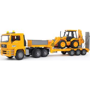 Тягач Bruder с прицепом - платформой MAN с колёсным экскаватором - погрузчиком JCB 4CX 02-776