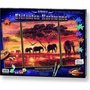 Раскраска по номерам Schipper ''Африканские слоны'' 50х80см триптих 9260455