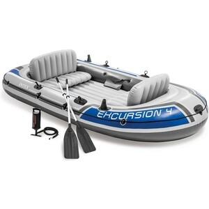 Надувная лодка Intex Экскурсия-4 (до 400кг) 315х165х43см + весла/насос (68324) intex надувная лодка explorer pro 300 intex