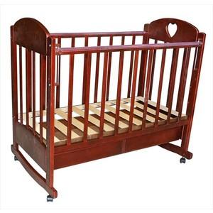 Кроватка детская Ведрусс ''Иришка 2'' ящик/колеса/качалка (сердечко/вишня)