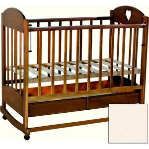Кроватка детская Ведрусс ''Иришка 2'' ящик/колеса/качалка (сердечко/слоновая кость)
