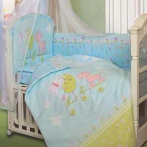 Комплект в кроватку Золотой гусь Little Friend 7 предметов (голубой) 1262