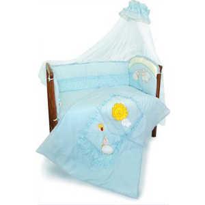 Комплект в кроватку Золотой гусь Веселые овечки 7 предметов (голубой) 1272 золотой гусь комплект белья в кроватку кошки мышки 7 предметов цвет голубой 60 см x 120 см