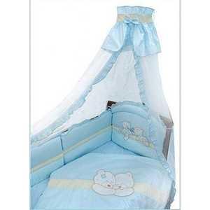 Комплект в кроватку Золотой гусь Лапушки 7 предметов (голубой) 1612