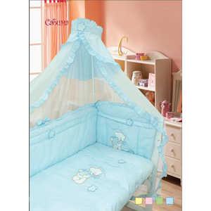 Комплект в кроватку Золотой гусь ''Сабина'' 7 предметов (голубой) 1412