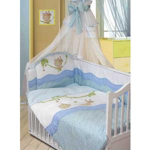Комплект в кроватку Золотой гусь Улыбка 7 предметов (голубой) 1592