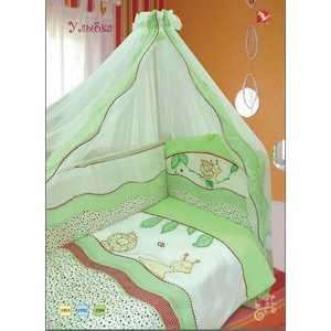 Комплект в кроватку Золотой гусь Улыбка 7 предметов (зеленый) 1594 комплект в кроватку золотой гусь сладкий сон 7 предметов зеленый 1094