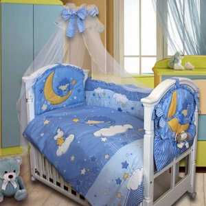 Комплект в кроватку Золотой гусь Ёжик Топа-Топ 8 предметов (голубой) 1282 балдахин на детскую кроватку купить в пензе