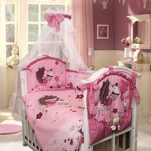 Комплект в кроватку Золотой гусь Ежик Топа-топ 8 предметов (розовый) 1286 балдахин на детскую кроватку купить в пензе