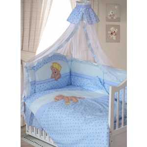 Комплект в кроватку Золотой гусь Мишка-Царь 8 предметов (голубой) 1082 золотой гусь комплект белья в кроватку мишка царь 8 предметов цвет бежевый 60 см x 120 см