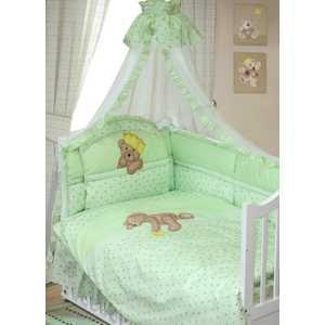 Комплект в кроватку Золотой гусь Мишка-Царь 8 предметов (зеленый) 1084