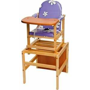 Стол-стул для кормления ПМДК ''Октябренок'' (фиолетовые ромашки/дуб)