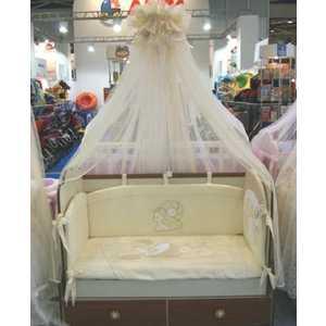 Комплект в кроватку Сдобина Грибочек 7 предметов (бежевый) 90 балдахин на детскую кроватку купить в пензе