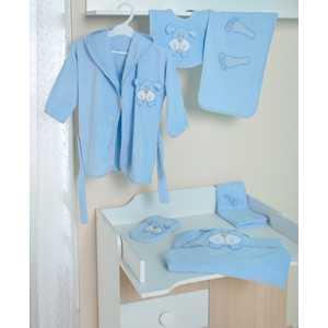 Комплект в кроватку Сдобина для новорожденного махровый (голубой) 73
