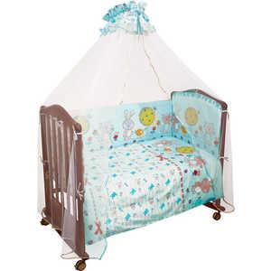 Фотография товара комплект в кроватку Сонный Гномик ''Акварель'' 120х60см 7 предметов (бирюзовый) бязь 706 (238710)