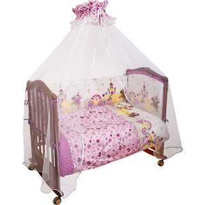 Фотография товара комплект в кроватку Сонный Гномик ''Золушка'' 120х60см 7 предметов (розовый) бязь 707 (238713)