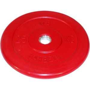 Диск обрезиненный MB Barbell 26 мм 25 кг красный Стандарт