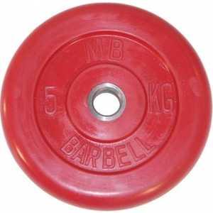 Диск обрезиненный MB Barbell 51мм 5кг красный Стандарт цена