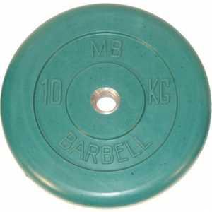 Диск обрезиненный MB Barbell 51 мм 10 кг зеленый ''Стандарт''