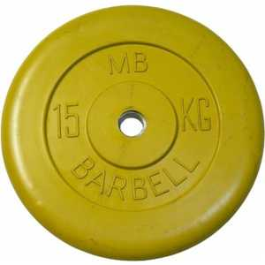 Диск обрезиненный MB Barbell 51 мм 15 кг желтый Стандарт евро классик диск 5 кг 51 мм barbell mb pltbe 5