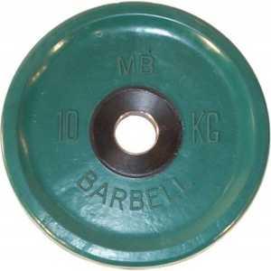 Диск обрезиненный MB Barbell 51 мм 10 кг зеленый Евро-Классик (Олимпийский) диск обрезиненный mb barbell 51 мм 25 кг красный евро классик олимпийский