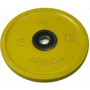 Диск обрезиненный MB Barbell 51 мм 15 кг желтый Евро-Классик (Олимпийский) диск обрезиненный mb barbell 51 мм 25 кг красный евро классик олимпийский